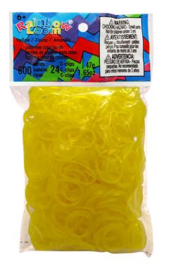 Rainbow Loom bandjes Doorzichtig geel (600 stuks)