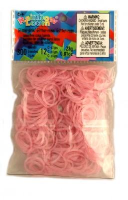 Rainbow Loom bandjes Glitter roze (300 stuks)