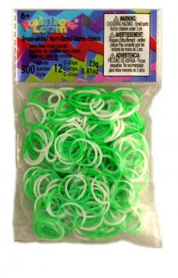 Rainbow Loom bandjes Groen/Wit (300 stuks)