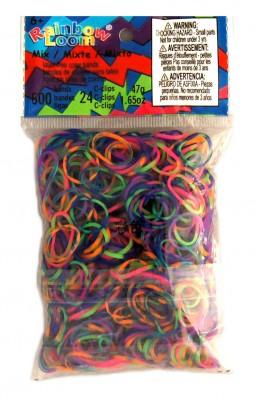 Rainbow Loom bandjes Mix rainbow Tie Dye (600 stuks)