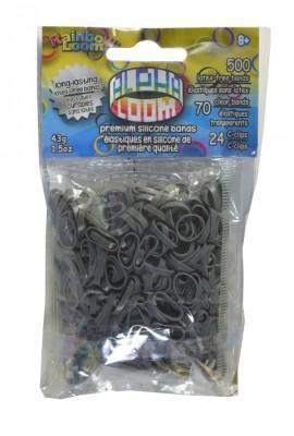Rainbow Loom Alpha  bandjes Grijs  (500 grijs + 70  transparant)  & 24 C-Clips)