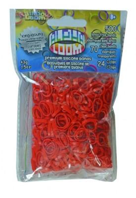 Rainbow Loom Alpha  bandjes Rood (500 rood  + 70  transparant)  & 24 C-Clips)