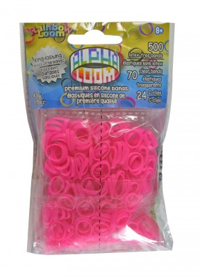 Rainbow Loom Alpha  bandjes Roze   (500 Pink + 70  transparant)  & 24 C-Clips)