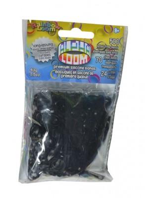 Rainbow Loom Alpha  bandjes Zwart   (500 Black  + 70  transparant)  & 24 C-Clips)