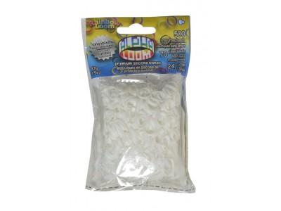 Rainbow Loom Alpha  bandjes White  (500 white  + 70  transparant)  & 24 C-Clips)