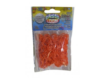 Rainbow Loom Alpha  bandjes Oranje (500 Oranje  + 70  transparant)  & 24 C-Clips)